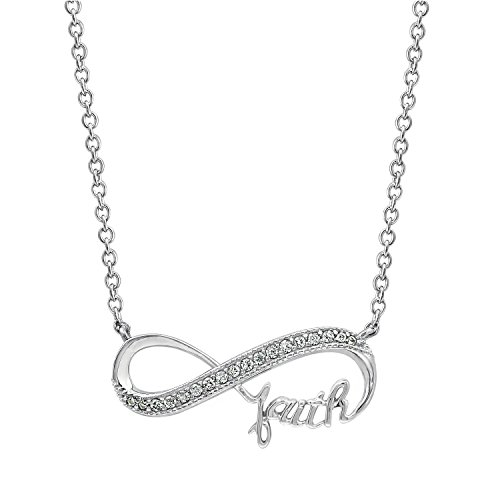 Diamonbliss Platinum Plated Sterling Silver 0.15 cttw Cubic Zirconia Infinity with Word Necklace- Faith (Cubic 16' Zirconia Necklace Fashion)