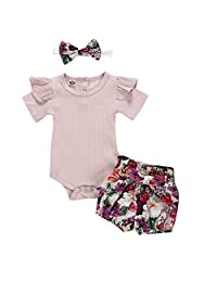 KONFA Baby Girls Summer Clothes Set for Toddler Kids Newborn Short Sleeve Romper Tops+Bow-Knot Floral Shorts+Headband 3Pcs Outfits (Purple, 0-6 Months)