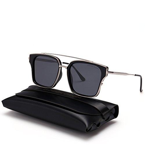 DRAGON CHARM Modern Square Unisex Sunglasses Polarized Metal Frame Flat - Dragon Frame Sunglasses