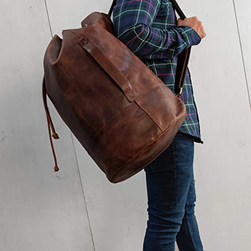 SID & VAIN® Sacca da marinaio vera pelle vintage HEATHROW grande XXL borsone palestra zaino borsa da viaggio uomo cuoio marrone