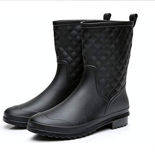 Black Garden Boots Women Rain Boots Waterproof Mid Calf Rain Boots Women Rubber Rain Boots with Heel Size 8 (Black Quilted Wide Calf Boots)
