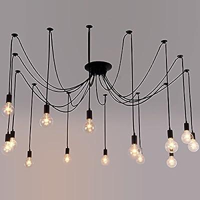 Industrial Vintage Edison Spider Light-LITFAD 8 Lights Multiple Ajustable DIY Ceiling Light Pendeant Chandelier