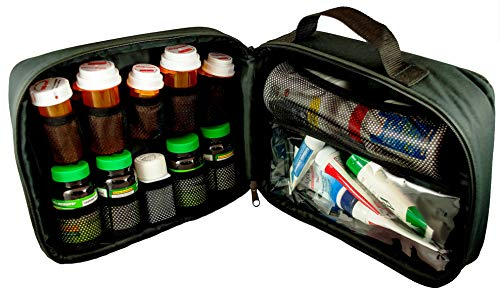 StarPlus2 Large Padded Locking Pill Bottle Organizer, Case, Carrier for Medications, Vitamins, and Medical Supplies - for Home Storage and Travel - Black (with TSA Approved Lock)