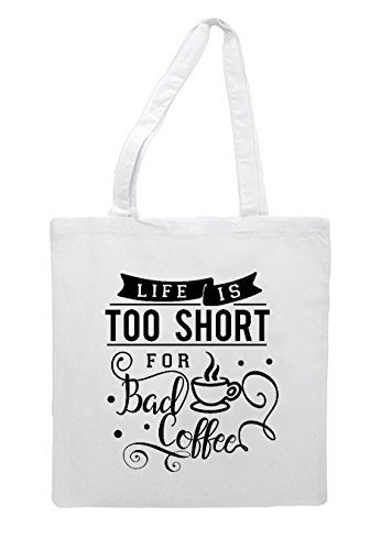 Life Shopper Is Short Coffee Statement Bad White Too Tote For Bag BRqxrzR6