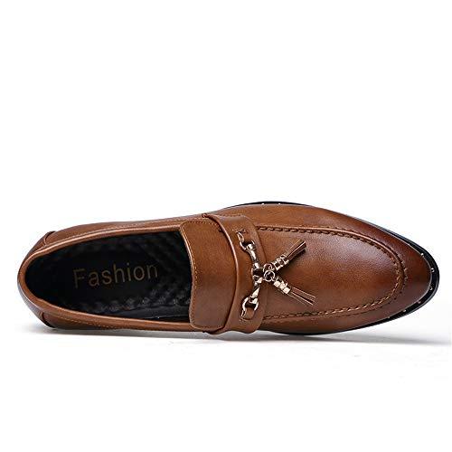 Marrón Marrón tacón conducción de Hombres Color Genuino EU de tamaño de de Hombre Cuero Zapatos 38 Zapatos los Plano de Jusheng Oxfords tTwFT1