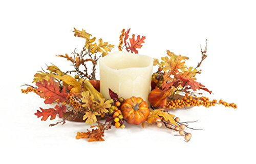 """UPC 762152591132, Pack of 3 Autumn Oak Leaf with Pumpkin Decorative Wreath Candle Holder Rings 19"""""""