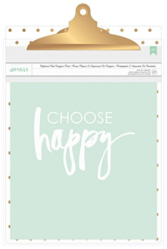 American Crafts 370803 Designer Desktop Printed Clipboard, Gold Dots, 9 x 12.5 by American Crafts