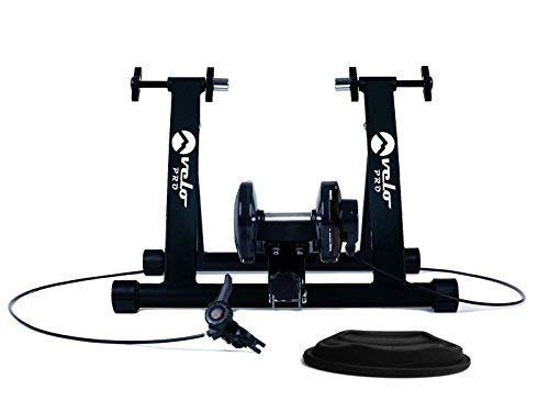 Velo Pro - entrenador de bicicleta de interior. Entrenador plegable con resistencia magnética para bicicleta de carretera, bicicleta de montaña, bicicleta de touring. Resistencia ajustable - Velocidad Variable. (negro) Black