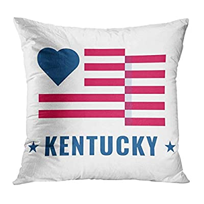 Throw Pillow Cover Love Kentucky State with Usa Flag Flat on White Public Holidays in the United States Also for About Decorative Pillow Case Home Decor Square 18x18 Inches Pillowcase