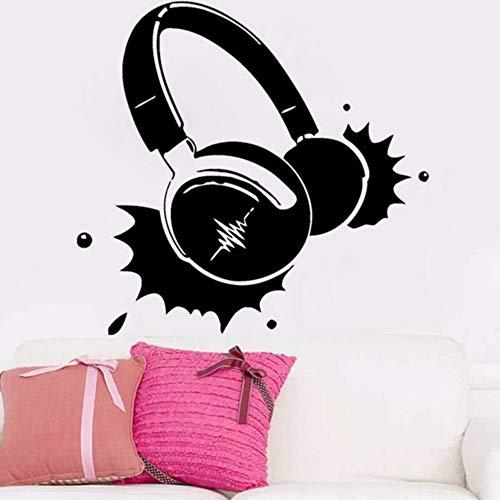 pbldb 56X59Cm Headphones Music Vinyl Wall Stick Rock Pop Song Singer Decor Living Room Wall Decal for Boys Bedroom Adhesive Wallpaper ()