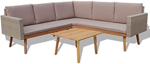 Amazon.com : h4home Outdoor Rattan Furniture Set Corner Sofa ...