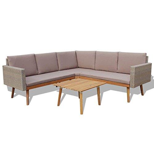 h4home Outdoor Rattan Furniture Set Corner Sofa Coffee Table Garden Patio Conservatory Gray Couch Scandianavian Retro Danish Modern Lounge Set (Conservatory Rattan Furniture Modern)