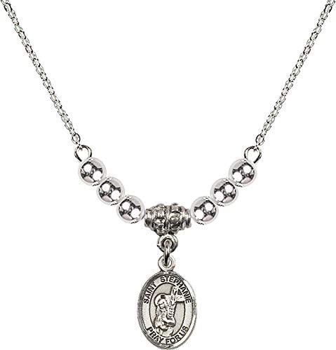 Bonyak Jewelry 18 Inch Rhodium Plated Necklace w 4mm Sterling Silver Beads and Saint Stephanie