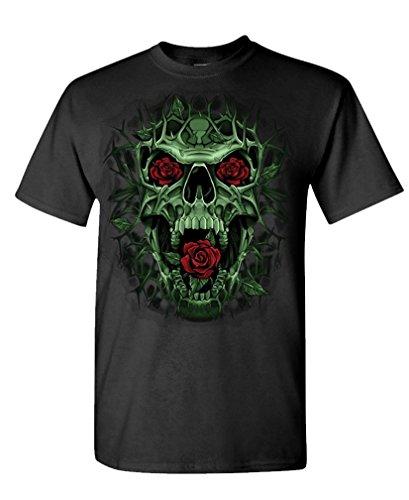 Skull Rose Thorns - Death Goth Punk - Mens Cotton T-Shirt, L, Black