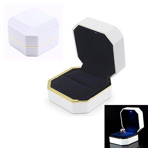 AVESON Luxury Ring Box, Square Velvet Wedding Ring Case Jewelry Gift Box with LED Light for Proposal Engagement Wedding, White