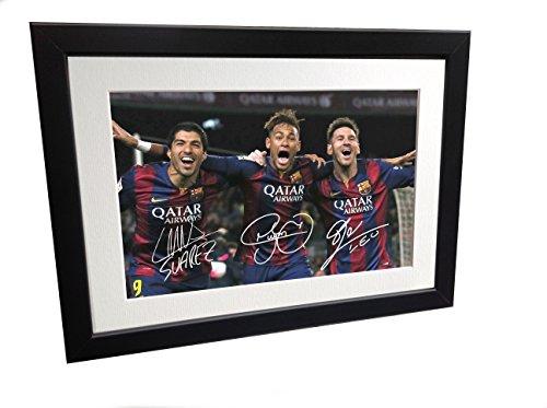 Signed Black Soccer Lionel Messi Neymar Jr Suarez Barcelona Autographed Photo Photograph Picture Frame Gift SM by Kicks