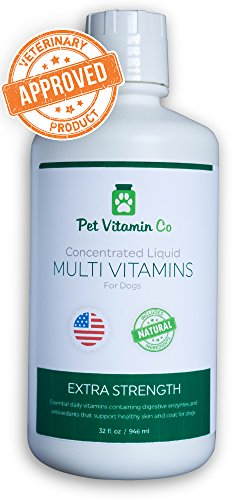 Pet Vitamin Co Natural Liquid MultiVitamin for Dogs - Includes Omega Fatty Acids ✅ Glucosamine & MSM for Healthy Joints ✅ Silky Smooth Coat ✅ Skin & Healthy Heart - 32fl oz. by Pet Vitamin Co