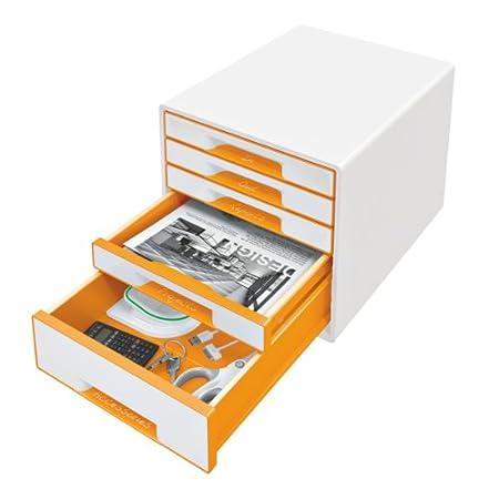 Leitz Wow Bloc de classement 4 Tiroirs Orange