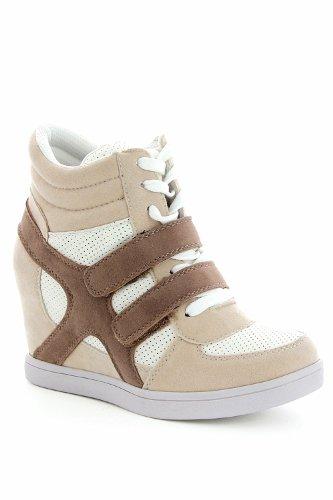 Baskets mode compensées bimatière urban - chaussures femme - Beige- 41