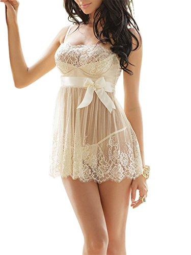 FasiCat Sheer Dress Lace Chemise Sexy Lingerie Hot Novelty Nighty Ivory 2XL