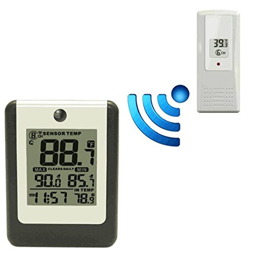 Ambient Weather WS-16 Wireless 8-Channel Thermometer with Remote Sensor, Alarm