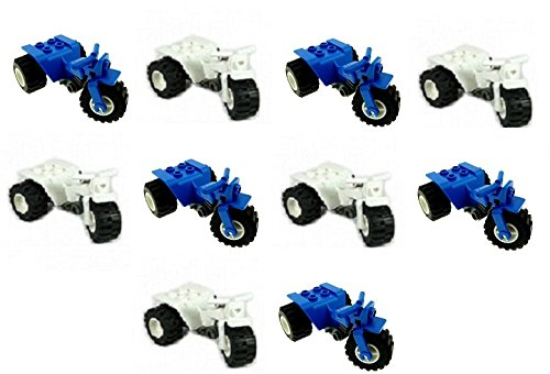LEGO 5x Blue + 5x White Quad Motorcycle Tricycle Bikes For Minifigs (Loose) (Lego Bike Quad)