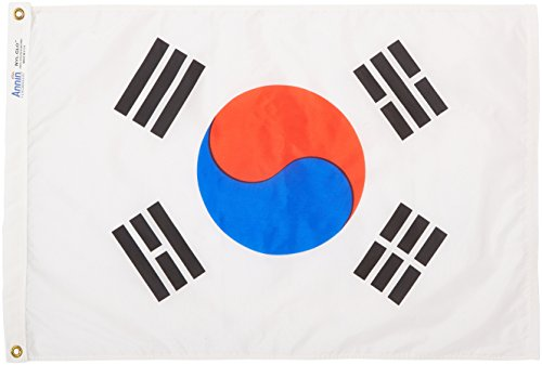Annin Flagmakers Model 197603 South Korea Flag Nylon SolarGuard NYL-Glo, 2x3 ft, 100% Made in USA to Official United Nations Design Specifications