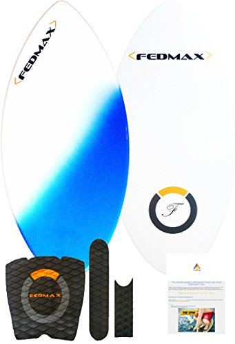 Skimboard, Fiberglass/Carbon Fiber Hybrid by Fedmax, 160lbs. - 220lbs. Weight Limit, Ocean Blue, Skim & Wake Surf With Traction for Kids/ Adults