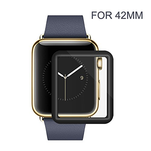Apple Watch 42mm Screen Protector, Amoner iWatch Tempered Glass Screen Film [Full Coverage][2.5D Curved Edge] for 42mm iWatch Series 3/2/1 (Black)
