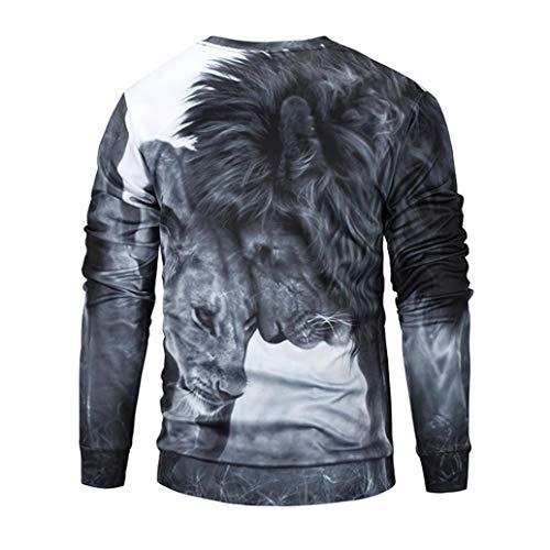 shirt lunga Top Fashion Aimee7 3d Camicetta economica Uomo Manica Top Nero T Stampa Leone 5wtCtq4A