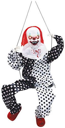 Large Lighted Kicking Clown on Swing Scary Halloween Decoration Party Supply -