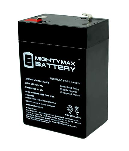 Exit Sign Dc - Mighty Max Battery ML4-6 - 6V 4.5AH SLA Battery Replaces cp0660 gp645 lcr6v4p hk-3fm4.5 wp4-6 Brand Product