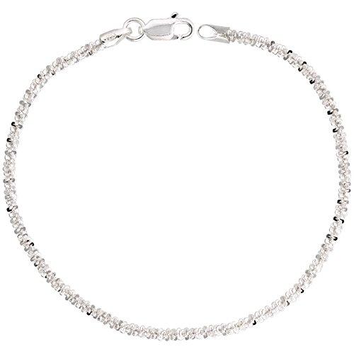 Sterling Silver Sparkle Rock Chain Bracelet 2.3mm Diamond cut Nickel Free Italy, 8 inch (Silver Sparkle Sterling)