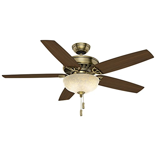 - Casablanca 54025 Concentra Gallery 54-Inch 5-Blade Single Light Ceiling Fan, Antique Brass with Clove/Smoked Walnut Blades and Champagne Scavo Glass Bowl Light