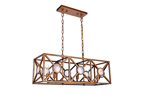 Antique Brass Kitchen Island Light - Dst Retro Rectangular Pendant Island Light, Antique Brass Paint Chandelier Ceiling Light for Kitchen, Living room, Island and so on, Size: L: 78.6cm/30.94