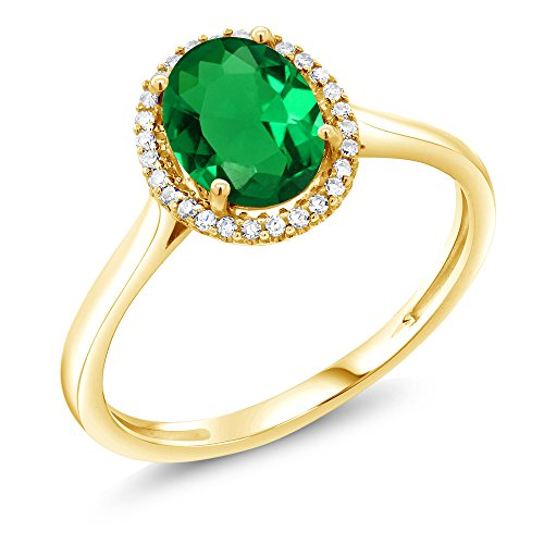 Gem Stone King 1.00 Ct Oval Green Simulated Emerald 10K Yellow Gold Diamond Ring (Size ()