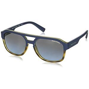 Armani Exchange Men's Plastic Man Rectangular Sunglasses, Matte Havana/Matte Blue, 57 mm