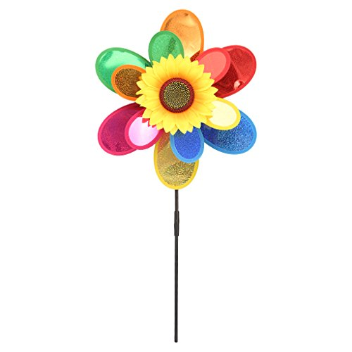 Qupida Colorful Windmill, Sequins Double Layer Sunflower Wind Spinner Window/Home/Yard/Garden Decor (1 (Window Spinner)