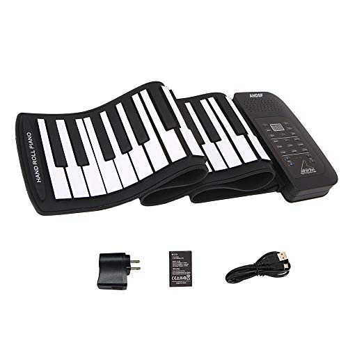 Roll up piano portable 61 key soft elastic electronic music keyboard piano built-in loudspeaker rechargeable battery for beginners gift