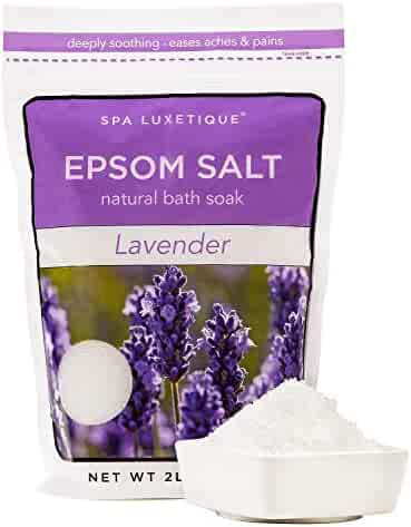 Spa Luxetique Premium Lavender Epsom Salt Soak 32oz (2-Lbs) Organic Bath Salts & Essential Oils for Soothing Sore Muscles, Relieving Stress, Relaxing Your Body & Mind Really. Resealable Bulk Bag.