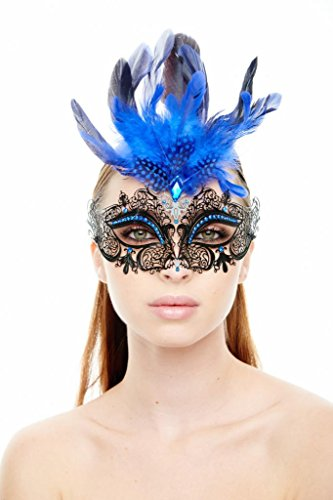 KAYSO INC Classic Venetian Laser Cut Masquerade Mask, Black with Blue Feathers