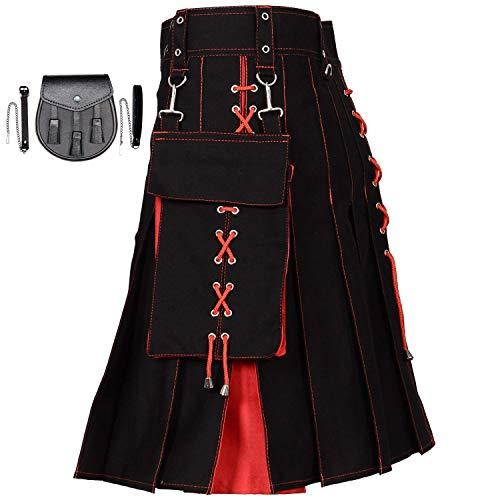 Highland Wool Pant - MajesticUSA Hybrid Utility Kilt Scottish Kilts for Men Tartan Black Cotton Traditional Highland Dress with Free Deluxe Sporran (Black & RED, W 46)