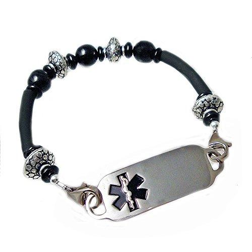 Medical Id Onyx Bracelet - Women's Medical Alert Essex bead and rubber Bracelet, FREE Engraving+FREE WALLET CARD