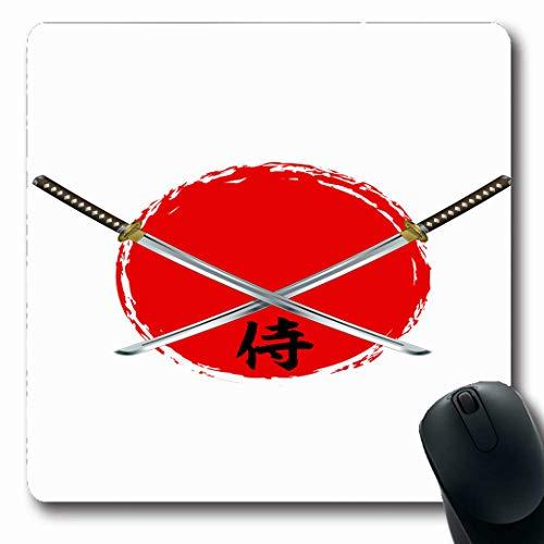 Ahawoso Mousepads for Computers Katana Samurai Swords Text Edges Ninja Warrior Sable Design Empire Oblong Shape 7.9 x 9.5 Inches Non-Slip Oblong Gaming Mouse Pad