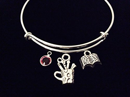 Artist and Book Expandable Charm Bracelet Silver Bangle Scrapbook Gift