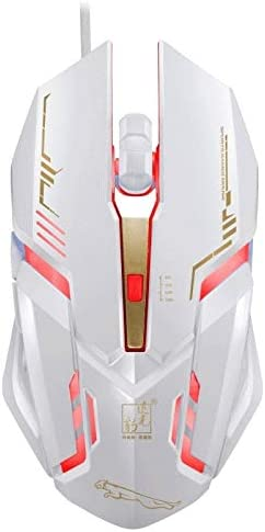 Color : White 1.45m Durable V17 USB 2400DPI Four-Speed Adjustable Line Pattern Wired Optical Gaming Mouse with LED Breathing Light Length