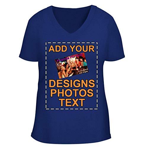 Custom Personalized Printed Image - B+C Women's V-Neck T-Shirt CP06, Blue, M