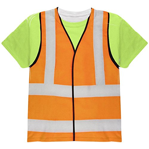 Halloween Road Worker Construction Vest Costume All Over Youth T Shirt Multi YLG ()