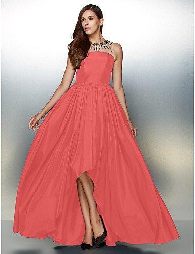 Noche De Detallando Línea Prom Tafetán Crystal Cuello De Vestido HY Una Formal Watermelon Joya De amp;OB Con Asimétrica 87aYg