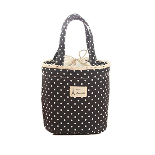 Franterd Waterproof Picnic Insulated Fashion Lunch Cooler Tote Bag Travel Organizer Box (Black)
